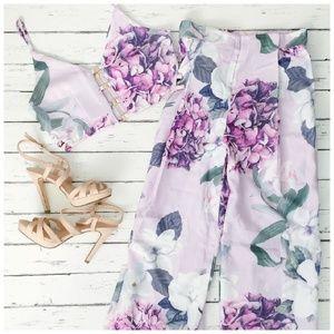 Last! Lilac floral two-piece crop set